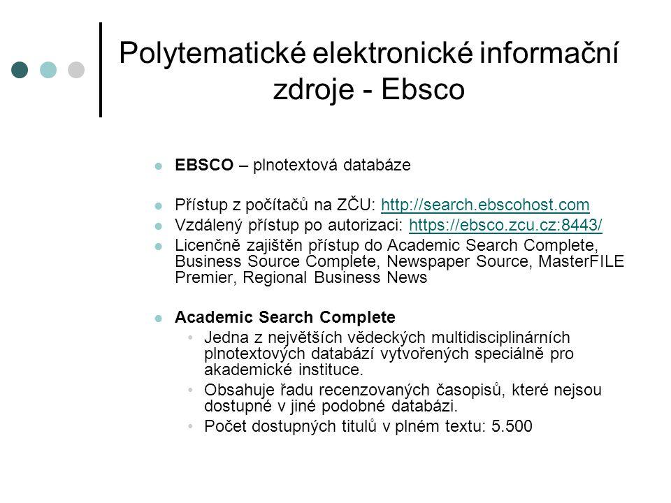 Polytematické elektronické informační zdroje - Ebsco