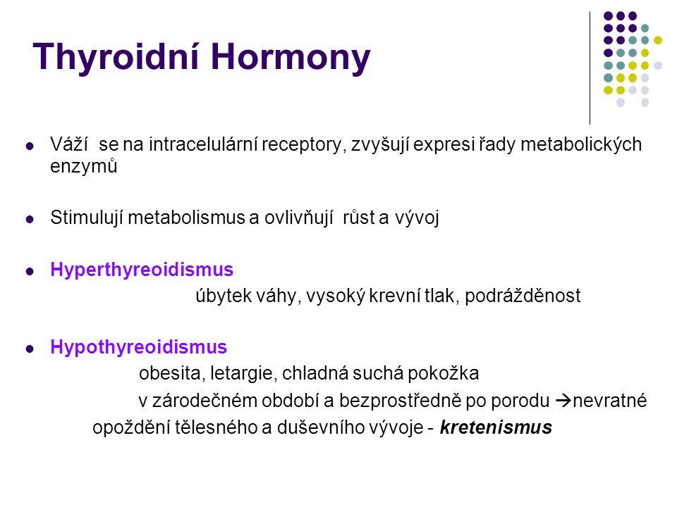 Thyroidní Hormony Váží se na intracelulární receptory, zvyšují expresi řady metabolických enzymů. Stimulují metabolismus a ovlivňují růst a vývoj.