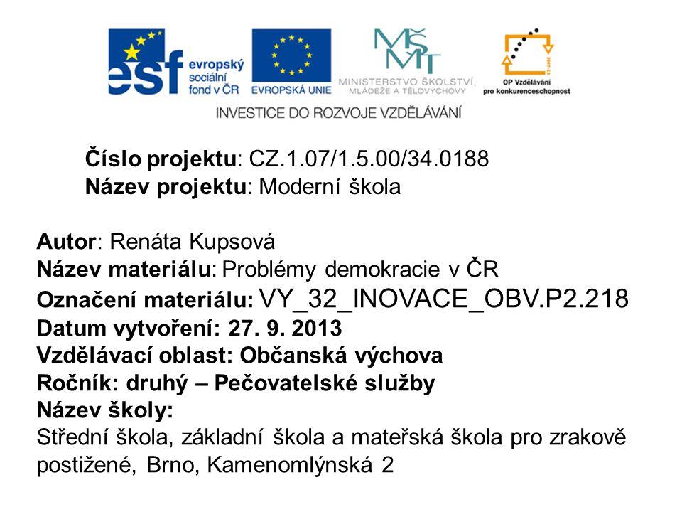 Číslo projektu: CZ.1.07/1.5.00/34.0188 Název projektu: Moderní škola. Autor: Renáta Kupsová. Název materiálu: Problémy demokracie v ČR.