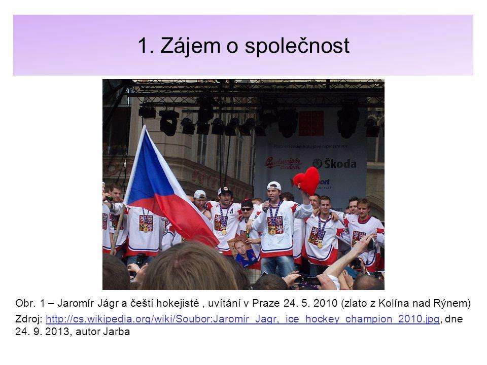 1. Zájem o společnost Obr. 1 – Jaromír Jágr a čeští hokejisté , uvítání v Praze 24. 5. 2010 (zlato z Kolína nad Rýnem)