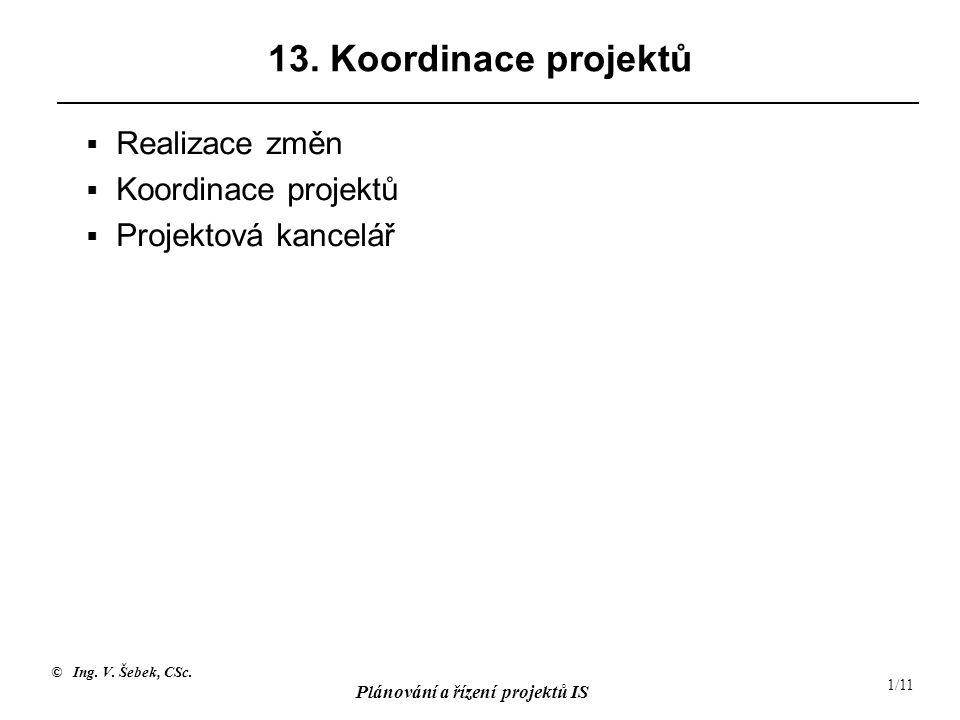 13. Koordinace projektů Realizace změn Koordinace projektů