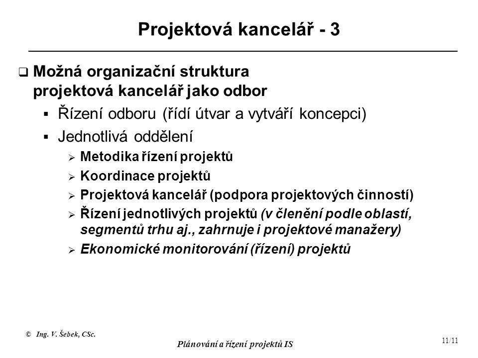 Projektová kancelář - 3 Možná organizační struktura projektová kancelář jako odbor. Řízení odboru (řídí útvar a vytváří koncepci)