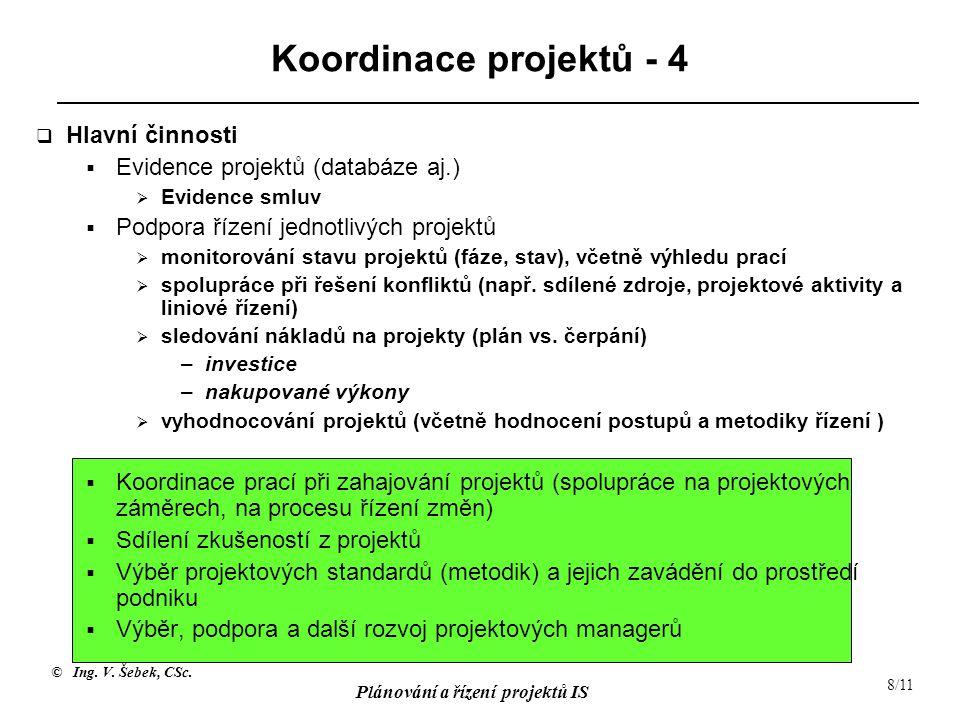 Koordinace projektů - 4 Hlavní činnosti