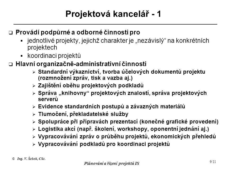 Projektová kancelář - 1 Provádí podpůrné a odborné činnosti pro