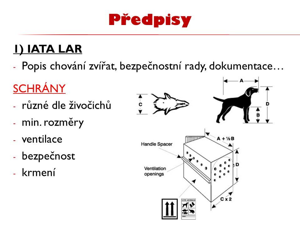 Předpisy 1) IATA LAR. Popis chování zvířat, bezpečnostní rady, dokumentace… SCHRÁNY. různé dle živočichů.