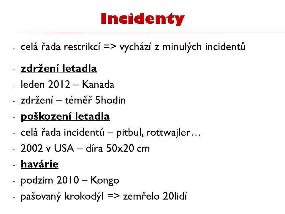 Incidenty celá řada restrikcí => vychází z minulých incidentů