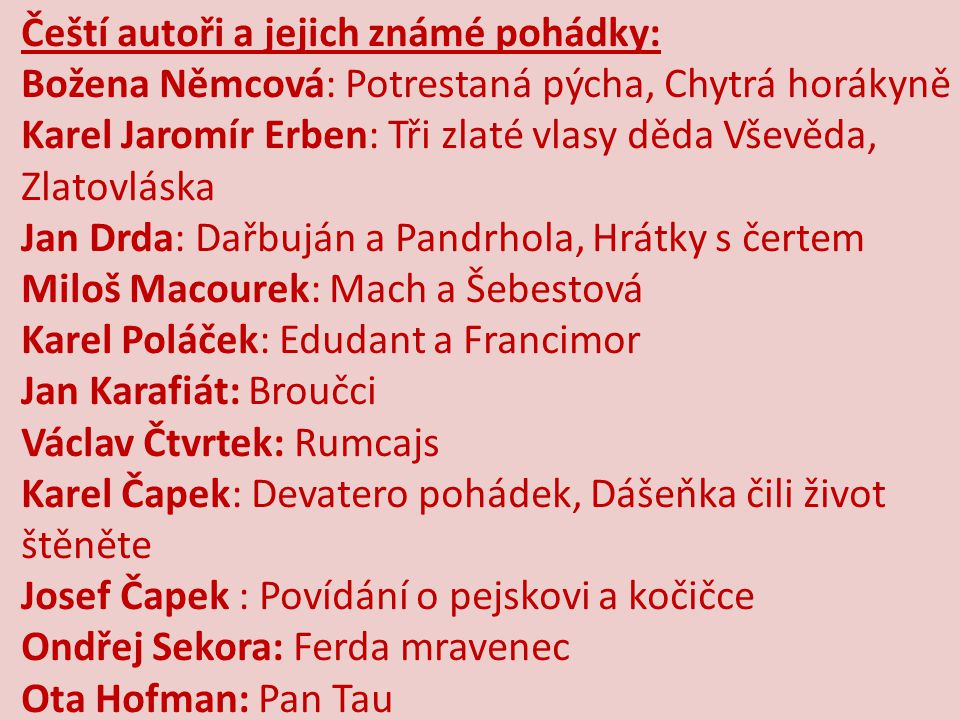 Čeští autoři a jejich známé pohádky: