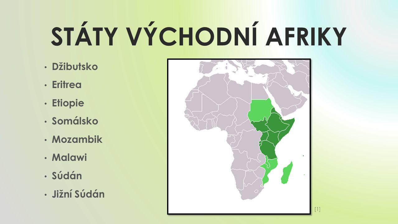 Státy VÝCHODNÍ AFRIKY Džibutsko Eritrea Etiopie Somálsko Mozambik
