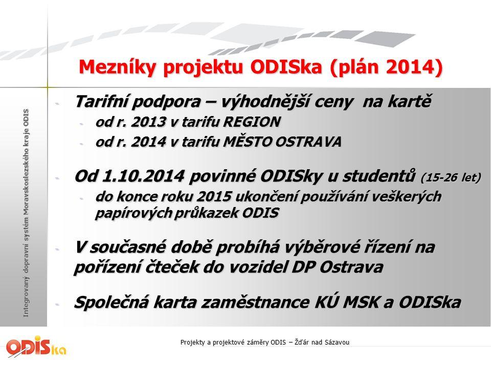 Mezníky projektu ODISka (plán 2014)