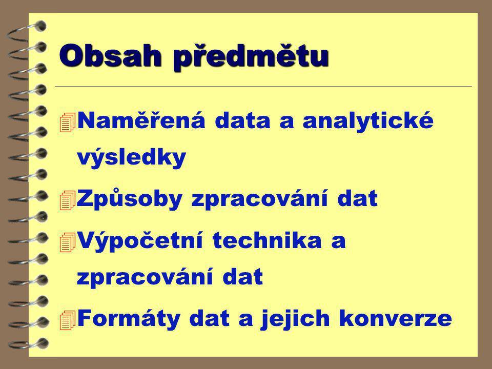 Obsah předmětu Naměřená data a analytické výsledky
