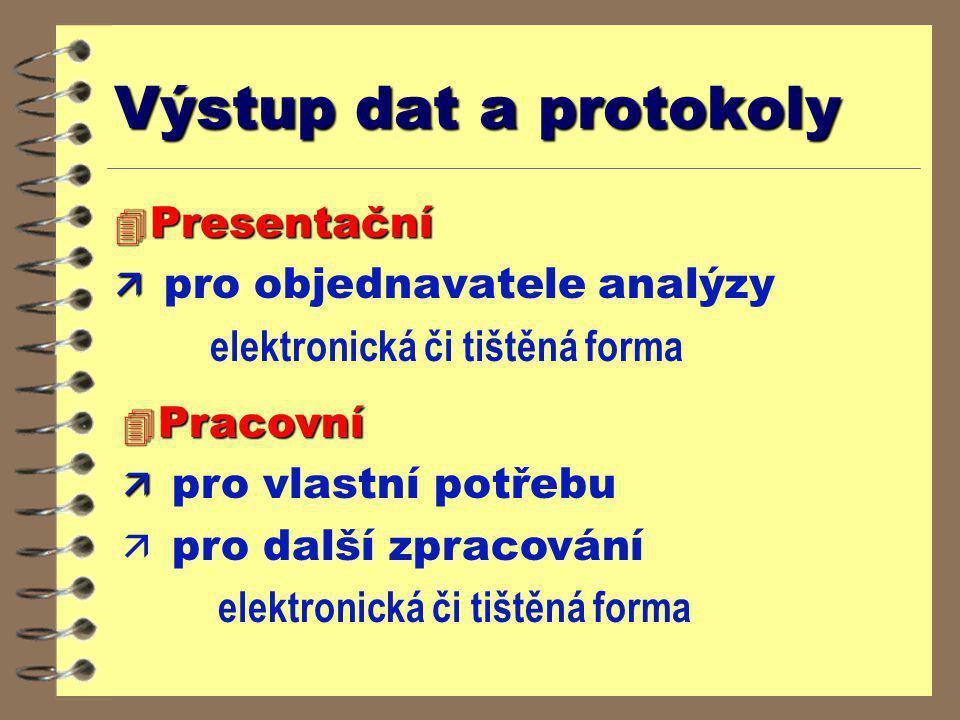 Výstup dat a protokoly Presentační pro objednavatele analýzy