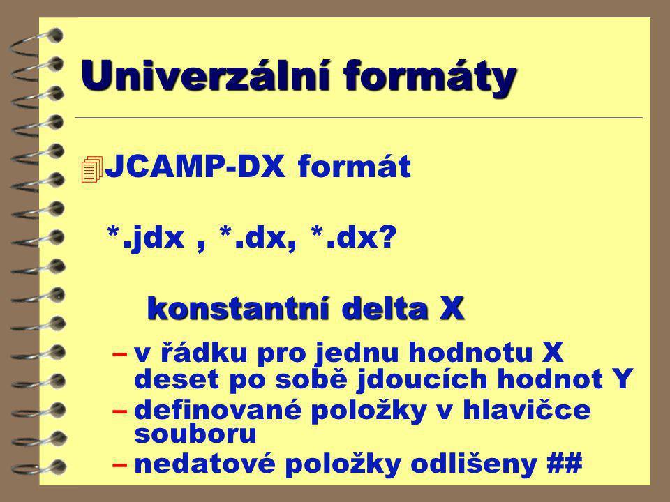 Univerzální formáty JCAMP-DX formát *.jdx , *.dx, *.dx