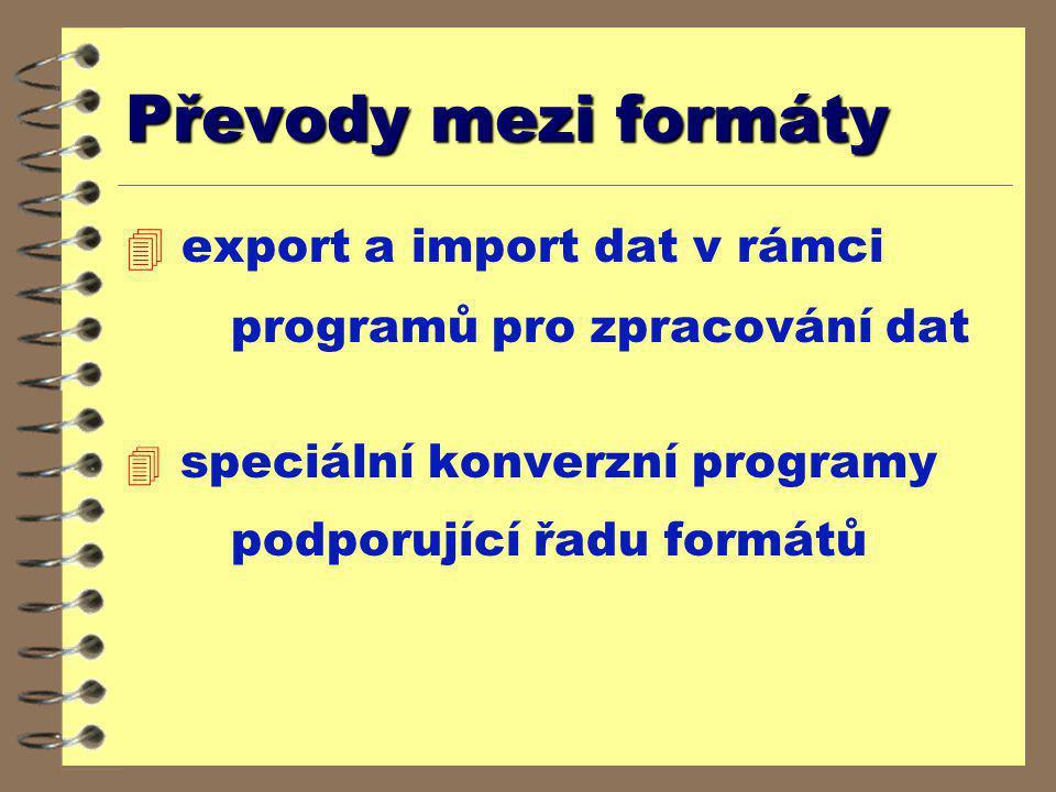 Převody mezi formáty export a import dat v rámci programů pro zpracování dat.