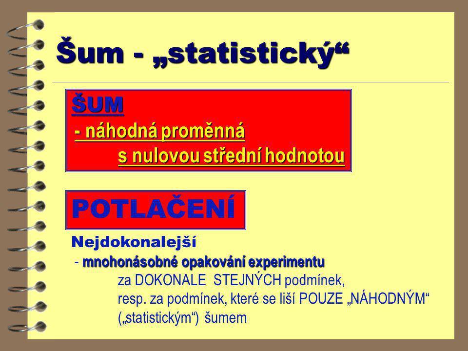 """Šum - """"statistický POTLAČENÍ ŠUM s nulovou střední hodnotou"""