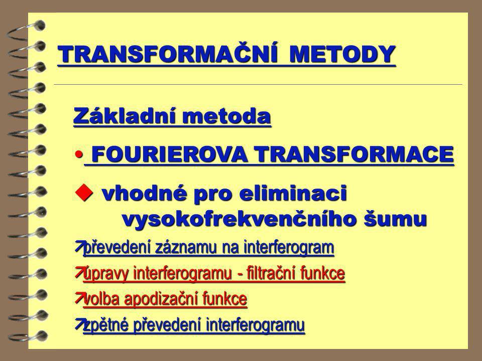 TRANSFORMAČNÍ METODY Základní metoda FOURIEROVA TRANSFORMACE