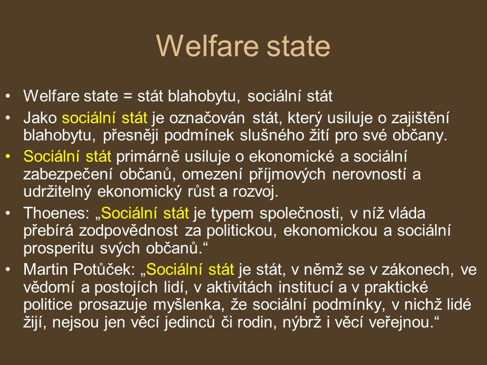 Welfare state Welfare state = stát blahobytu, sociální stát