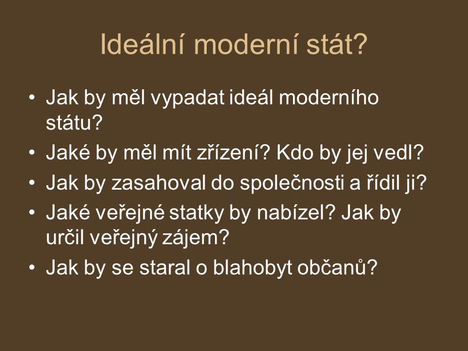 Ideální moderní stát Jak by měl vypadat ideál moderního státu