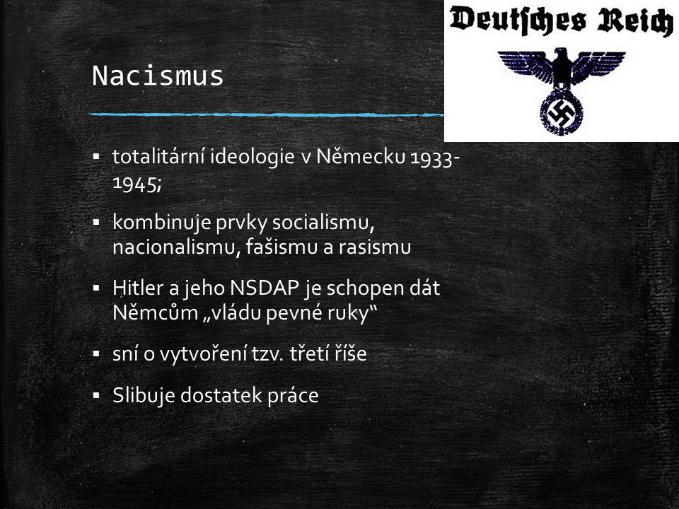 Nacismus totalitární ideologie v Německu 1933- 1945;