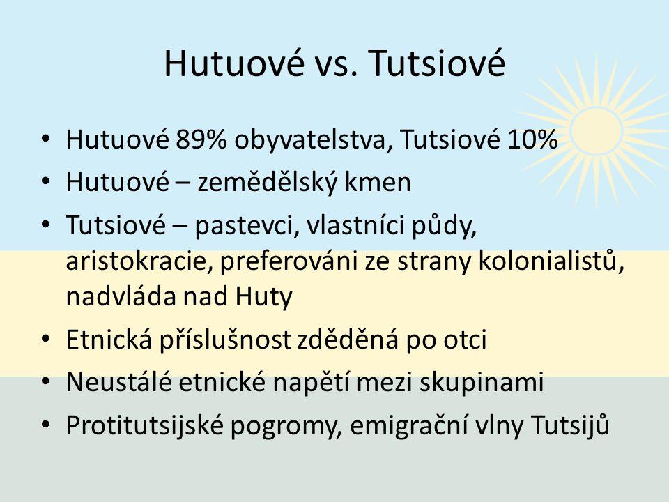 Hutuové vs. Tutsiové Hutuové 89% obyvatelstva, Tutsiové 10%