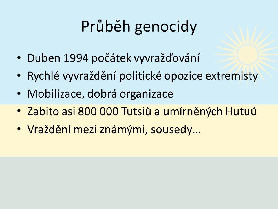 Průběh genocidy Duben 1994 počátek vyvražďování