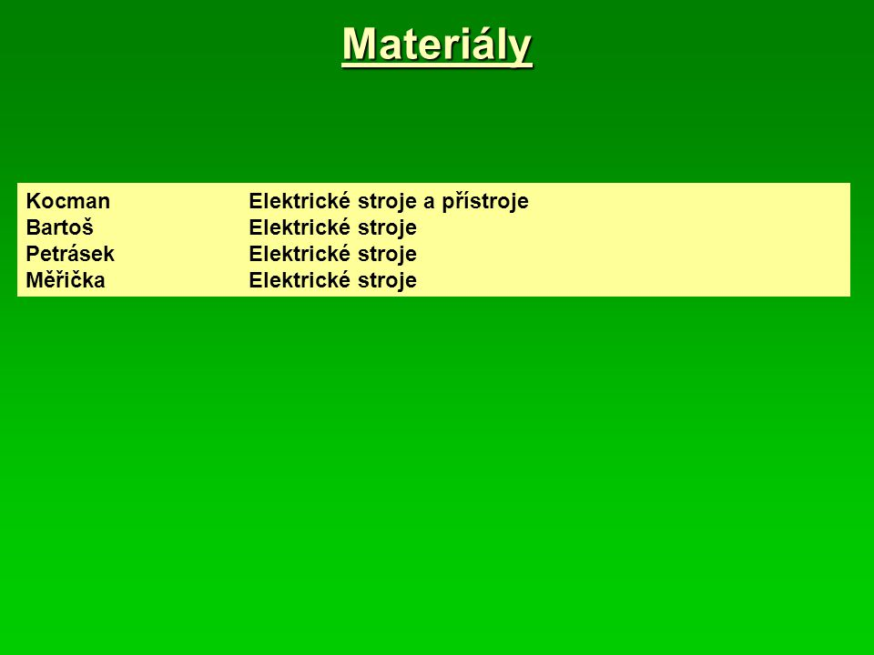 Materiály Kocman Elektrické stroje a přístroje