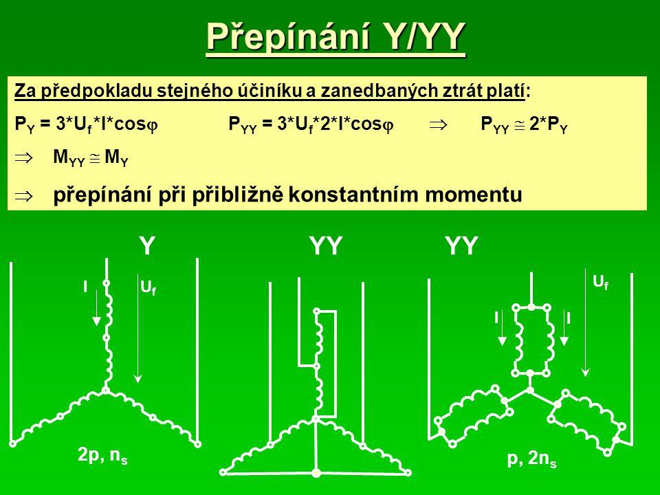 Přepínání Y/YY Za předpokladu stejného účiníku a zanedbaných ztrát platí: PY = 3*Uf *I*cos PYY = 3*Uf*2*I*cos  PYY  2*PY.