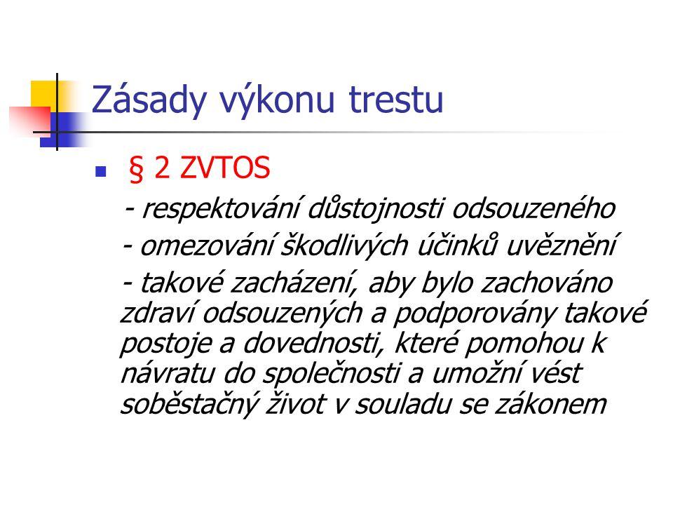 Zásady výkonu trestu § 2 ZVTOS - respektování důstojnosti odsouzeného