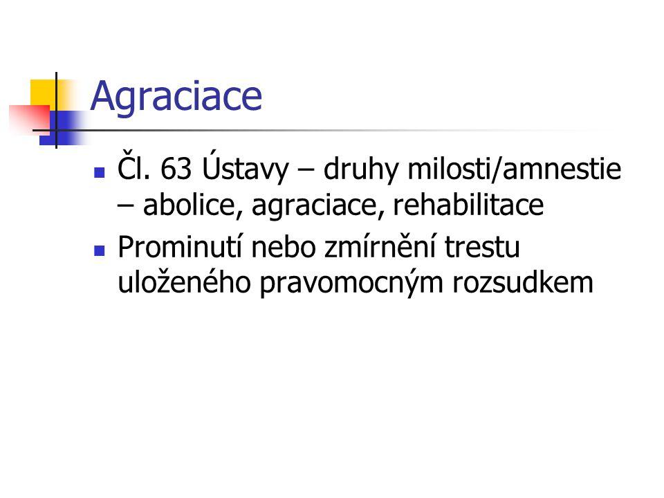Agraciace Čl. 63 Ústavy – druhy milosti/amnestie – abolice, agraciace, rehabilitace.