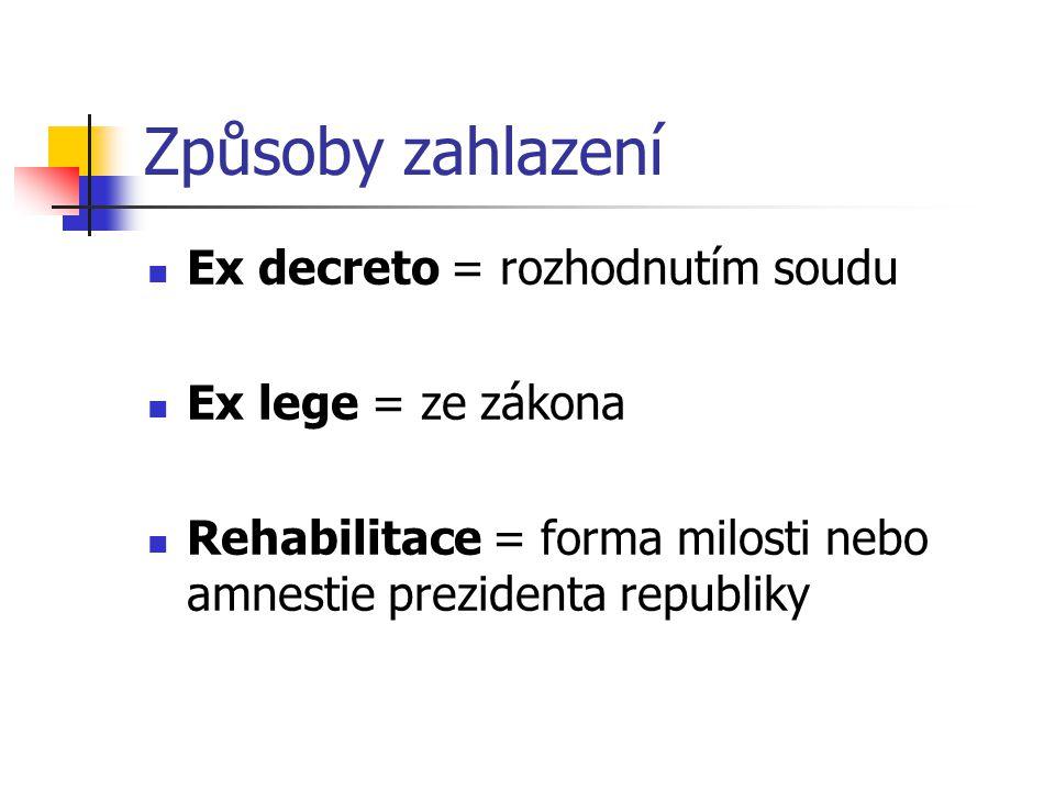 Způsoby zahlazení Ex decreto = rozhodnutím soudu Ex lege = ze zákona