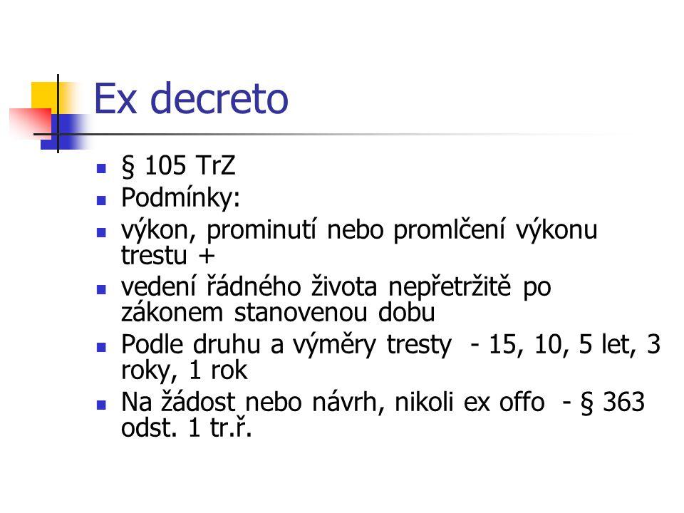 Ex decreto § 105 TrZ Podmínky: