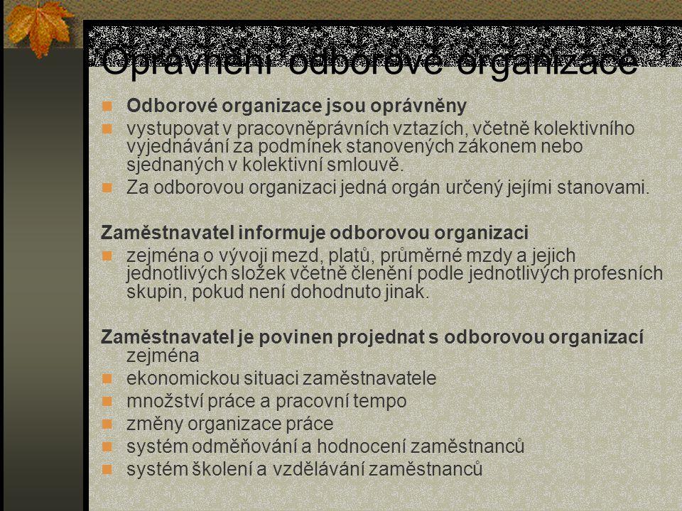 Oprávnění odborové organizace
