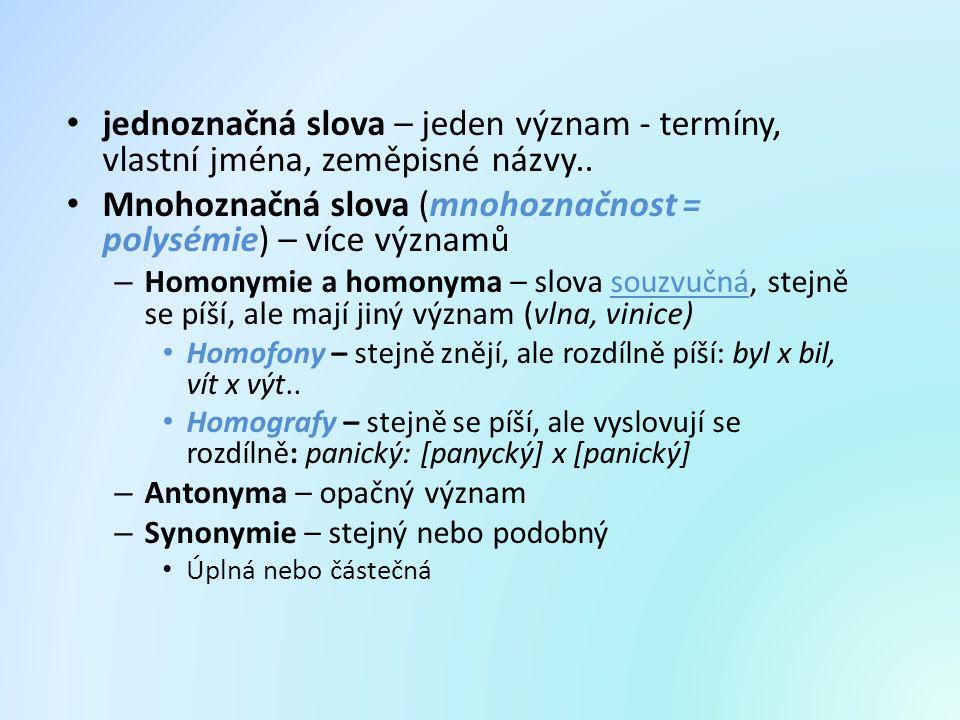 Mnohoznačná slova (mnohoznačnost = polysémie) – více významů