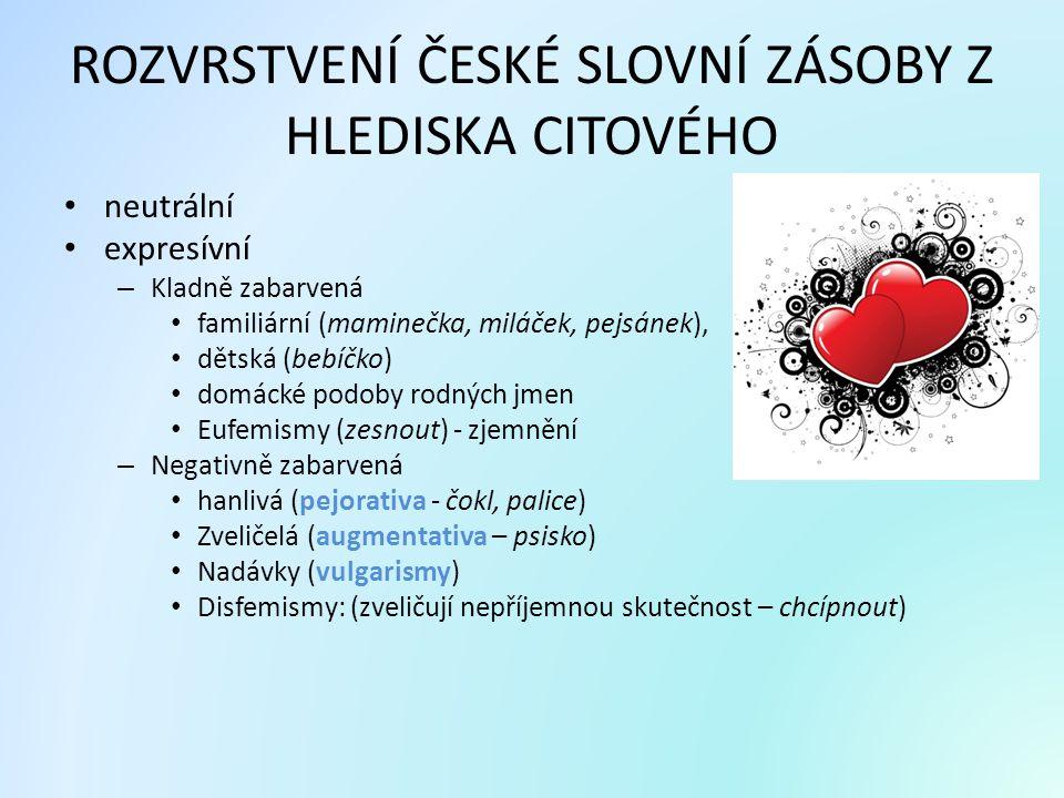 ROZVRSTVENÍ ČESKÉ SLOVNÍ ZÁSOBY Z HLEDISKA CITOVÉHO