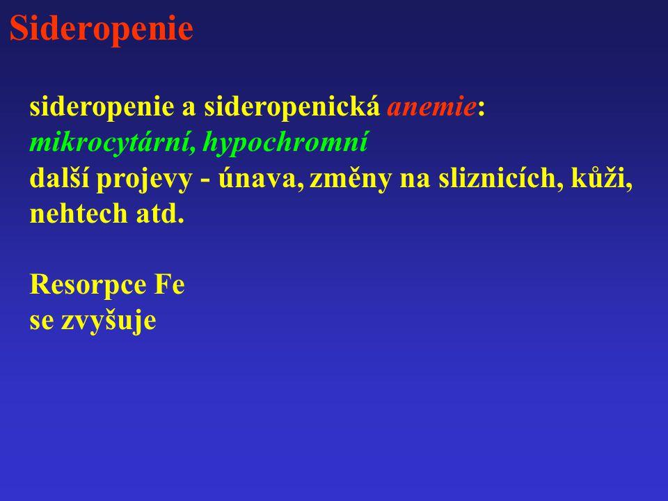 Sideropenie sideropenie a sideropenická anemie:
