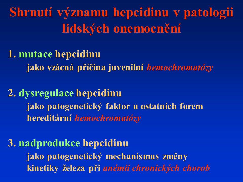 Shrnutí významu hepcidinu v patologii lidských onemocnění