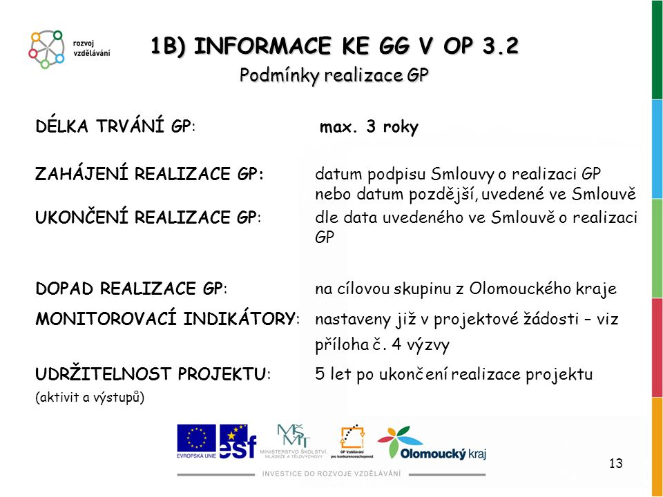 1B) INFORMACE KE GG V OP 3.2 Podmínky realizace GP