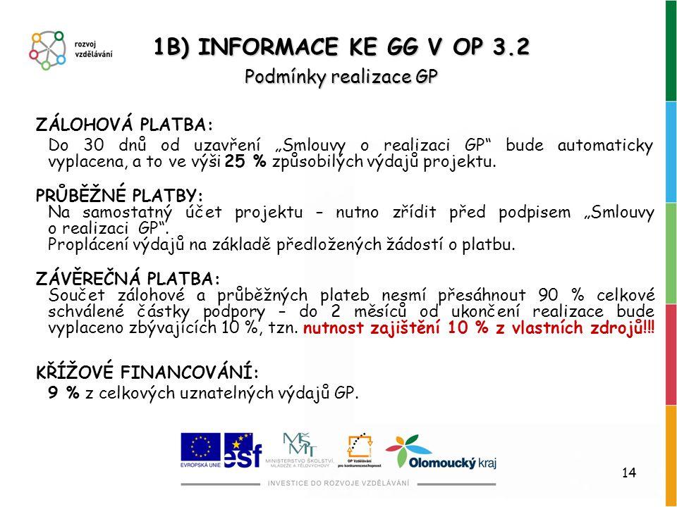 1B) INFORMACE KE GG V OP 3.2 Podmínky realizace GP ZÁLOHOVÁ PLATBA:
