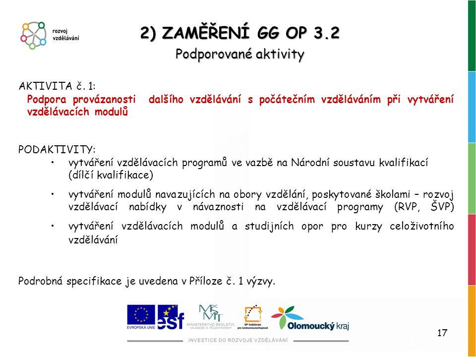 2) ZAMĚŘENÍ GG OP 3.2 Podporované aktivity AKTIVITA č. 1: