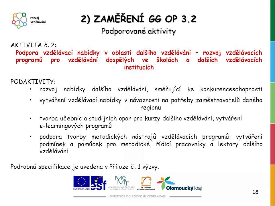 2) ZAMĚŘENÍ GG OP 3.2 Podporované aktivity AKTIVITA č. 2: