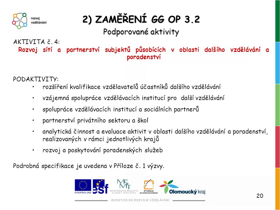 2) ZAMĚŘENÍ GG OP 3.2 Podporované aktivity AKTIVITA č. 4: