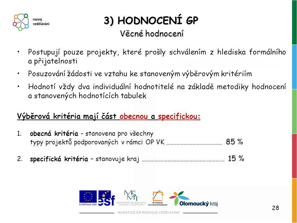 3) HODNOCENÍ GP Věcné hodnocení