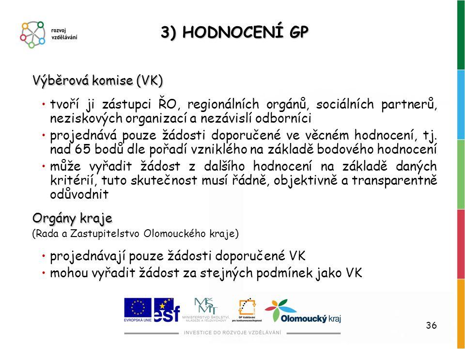 3) HODNOCENÍ GP Výběrová komise (VK)