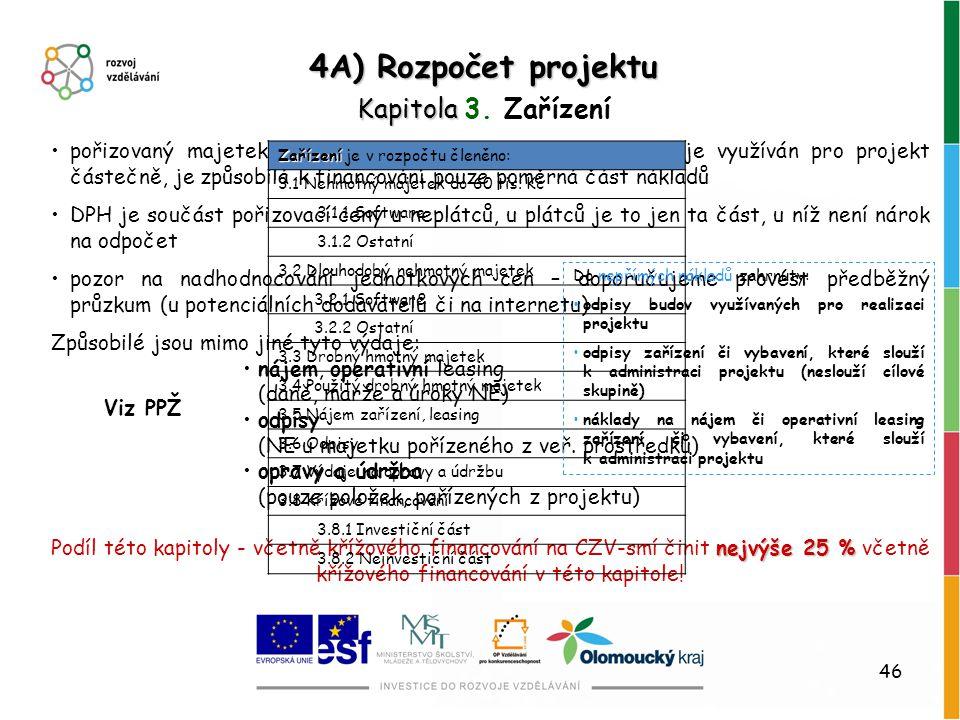 4A) Rozpočet projektu Kapitola 3. Zařízení