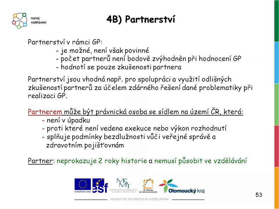 4B) Partnerství Partnerství v rámci GP: - je možné, není však povinné