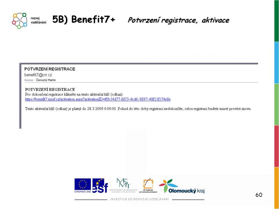 5B) Benefit7+ Potvrzení registrace, aktivace