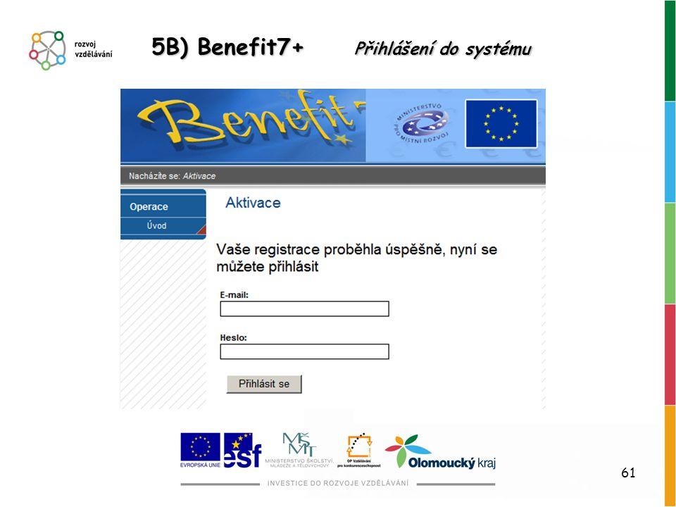 5B) Benefit7+ Přihlášení do systému