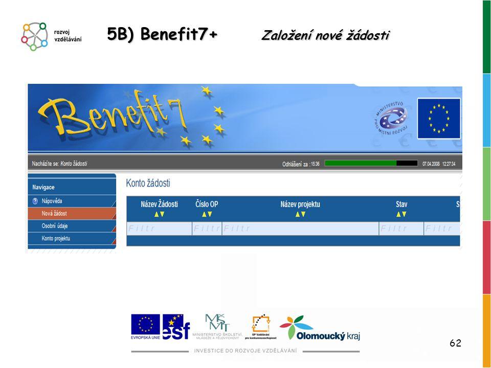 5B) Benefit7+ Založení nové žádosti