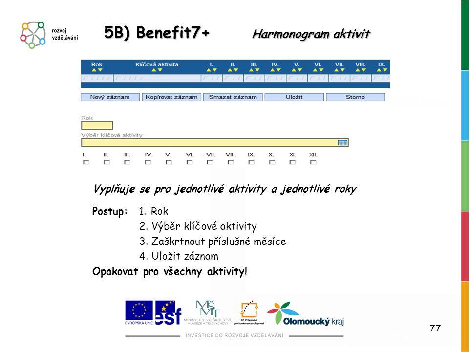 5B) Benefit7+ Harmonogram aktivit