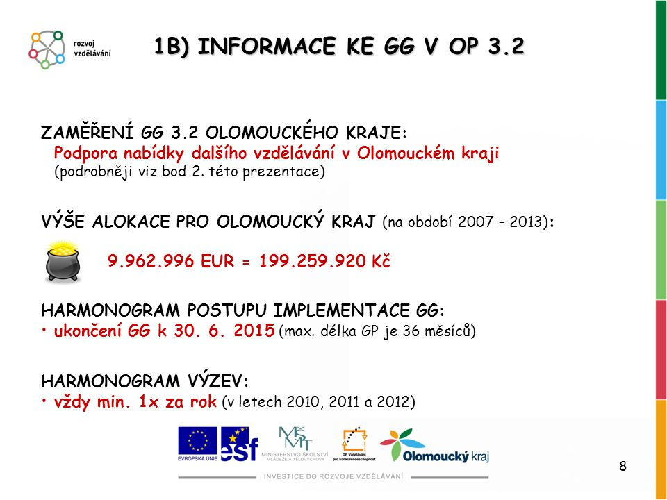 1B) INFORMACE KE GG V OP 3.2 ZAMĚŘENÍ GG 3.2 OLOMOUCKÉHO KRAJE: Podpora nabídky dalšího vzdělávání v Olomouckém kraji.