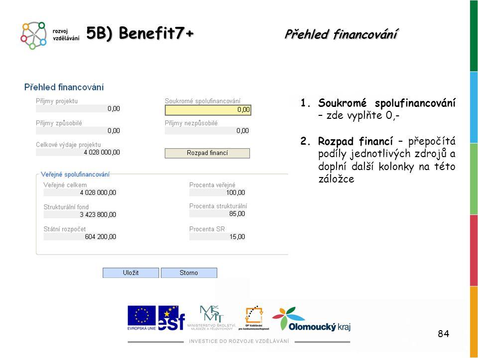 5B) Benefit7+ Přehled financování